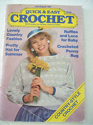 July August 1987 Quick & Easy Crochet Pattern Magazine Baby Sweater Hat Rug Pig