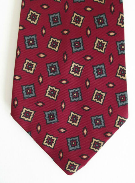 Retro tie Mens vintage 1970s patterned tie by FOLKESPEARE burgundy