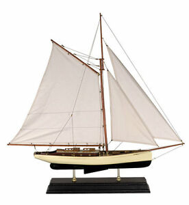 1930-039-s-Classic-Yacht-Large-Sailboat-Model-Ship-Nautical-Decor-on-stand-NEW