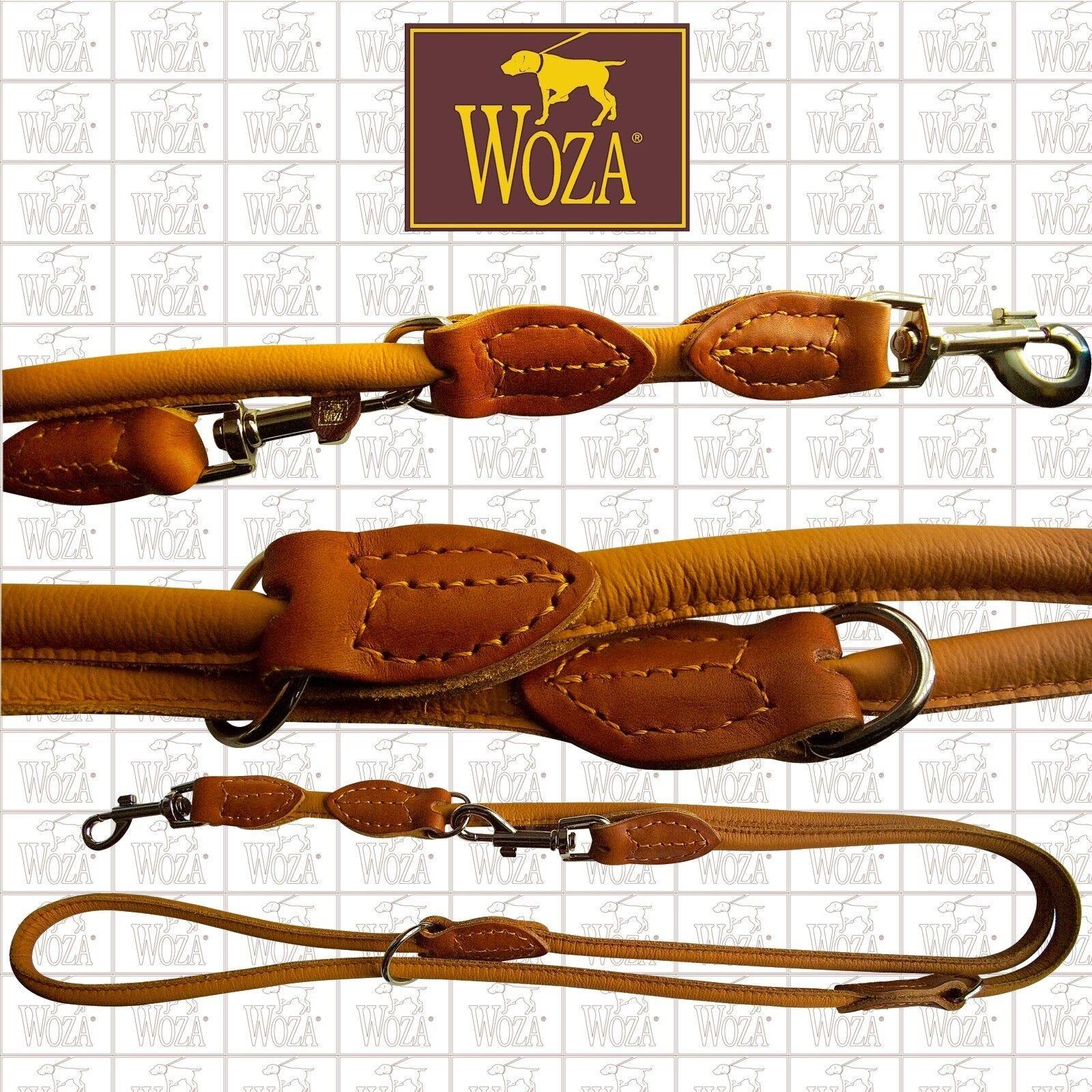 WOZA Rundgenähte Hundeleine Lederleine Vollleder Rindnappa Handnaht Lead UC1955  | Einfach zu spielen, freies Leben