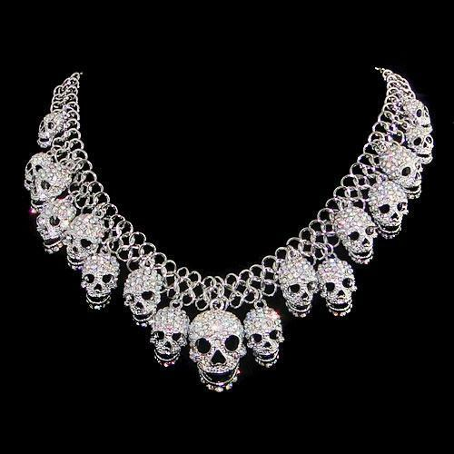 Skull Pendant Statement Necklace Austrian Crystal Clear AB Silver GP -E004