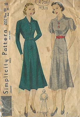 "1930s Vintage Sewing Pattern DRESS B38"" (R206)"