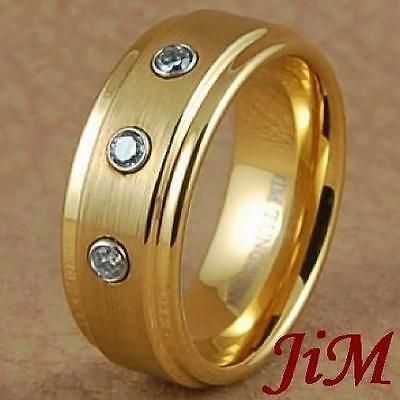 Tungsten Wedding Band Diamond 14K Gold Ring Hot Mens Womens Jewelry Size 6-15