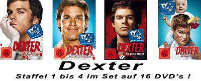 16 DVDs  *  DEXTER  -  STAFFEL / SEASON 1 - 4  IM SET  #  NEU OVP