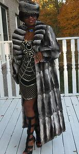 New-Full-length-full-pelt-loose-cut-Empress-Chinchilla-Fur-Coat-Jacket-M-L-8-14