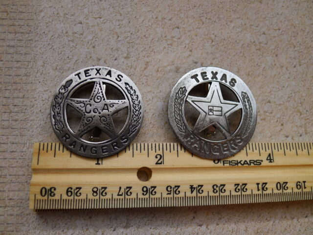"""2 TEXAS BADGES COMPANY """"A"""" AND THE TEXAS FLAG (OLD WEST BADGES)"""