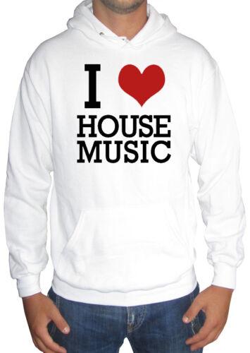 fm10 felpa cappuccio uomo I LOVE HOUSE music techno electro MUSICA