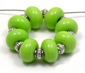 ROA-Lampwork-8-Opaque-Lime-5x10-mm-Handmade-USA-Round-Spacer-Art-Glass-Beads-SRA