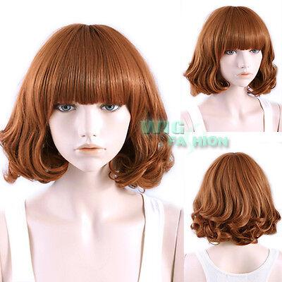 30 cm Harajuku Short Curly Mixed Brown Fashion Hair Wig With Bangs