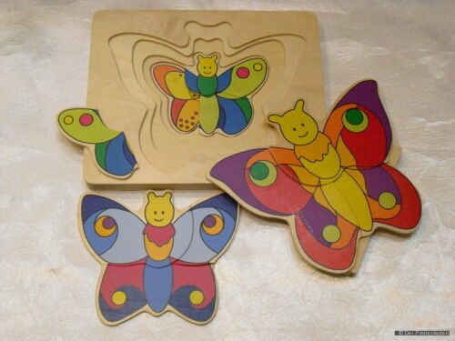 -Gollnest&Kiesel KG Holzpuzzle 4 Schichten Schmetterlinge -ab 2 Jahren