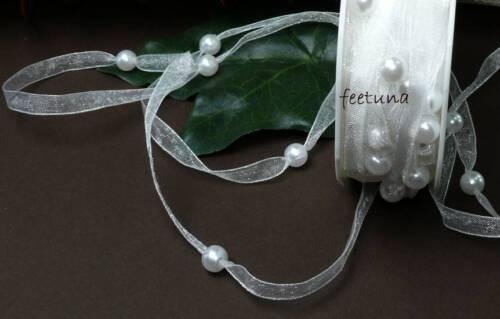 banda perlas boda cabeza joyas blanco comunión 5m organzaband 0,52 €//m