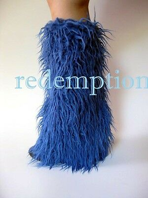 Demonia Huge Furry Cyber Goth Anime Rave Monster Fake Fur Boot Covers BLUE