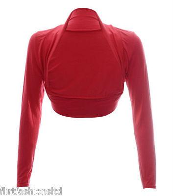 Womens Long Sleeve Boleros Shrugs Tops Ladies Casual Crop Cardigan Bolero Top