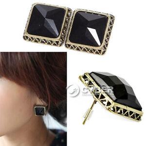 2012-New-Style-Women-Fashion-Vintage-Square-Faux-Diamond-Black-Ear-Pin-Earring