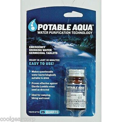 NEW Potable Aqua Iodine Germicidal Water Purification 50 Tablets Camping Hiking