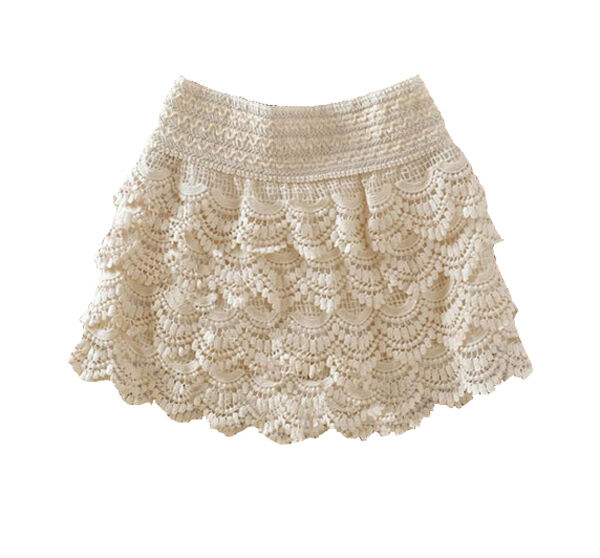 New Women Black Dress Sweet Cute Crochet Tiered Lace Shorts Skirts Short Pants J