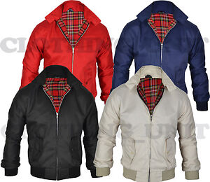Mens-Smart-Classic-Harrington-Jacket-Coat-Black-Burgundy-Stone-Green-S-M-L-XL
