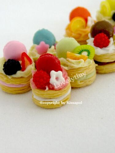 4 Pcs.Sweet Miniature Bakery, Dollhouse Miniature Macaroon Tart , Free Ship!
