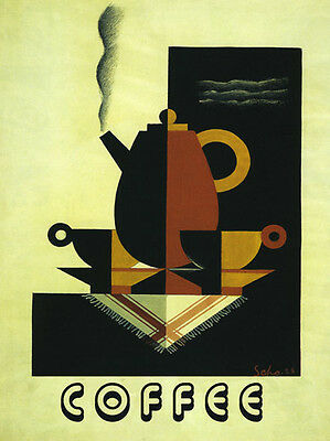 Coffee Kitchen Art Deco Vintage 20 x 30 Poster Reproduction FREE S/H