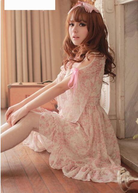 #14 Girls Kawaii Princess Cute Sweet Dolly Gothic Lolita Floral Chiffon Dress