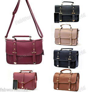 BLACK-BLUE-RED-BROWN-BEIGE-Faux-Leather-Vintage-Satchel-Messenger-Shoulder-Bag