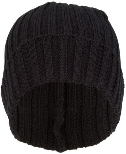 schwarz grau Herren Strickmütze Wintermütze Beanie mit breitem Umschlag braun
