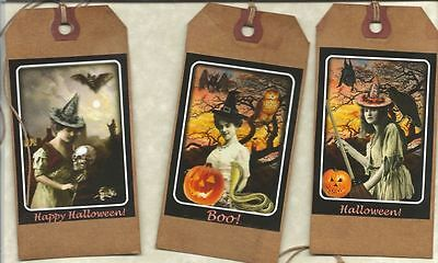 12 PRIMITIVE TAGS~Beautiful Witches!~HANG TAGS~folk~Grungy