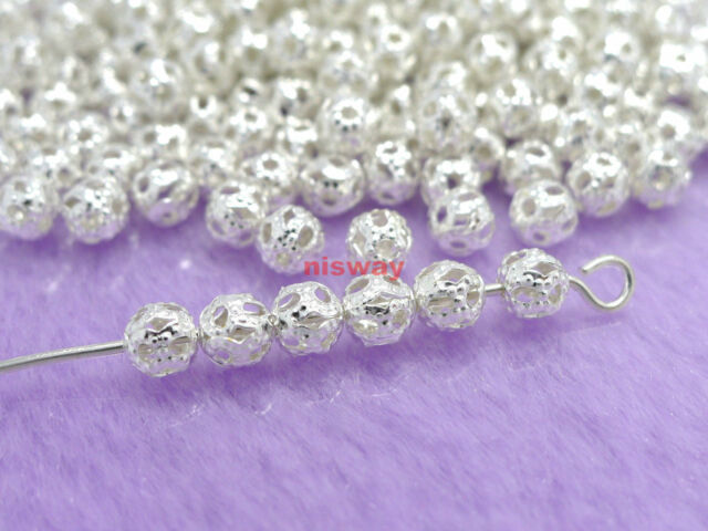 wholesale 100 Pcs Silver Plated Metal Hollow Flower Ball Spacer Beads 4mm