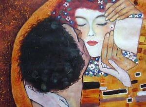 Gustav-Klimt-The-Kiss-Close-up-Oil-Painting-20x20-NOT-poster-Framing-Available