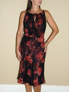 Details about tuleh rose print double layer silk dress 8 nwt 1750