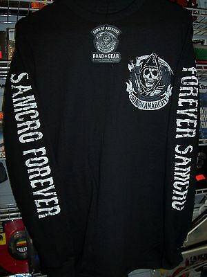 SONS OF ANARCHY SAMCRO FOREVER 2 SIDED PRINT BLACK LONG SLEEVE T-SHIRT NEW !