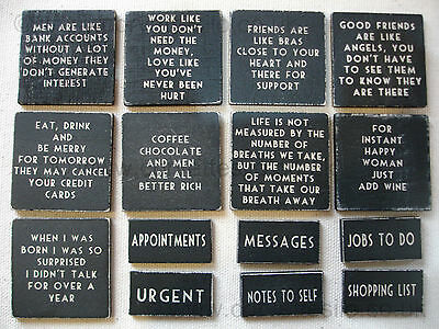 EAST OF INDIA BLACK WOODEN SHABBY CHIC FRIDGE MAGNET - CHOICE OF 16