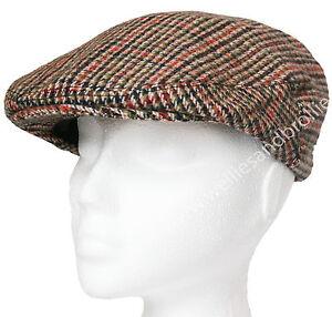 Mens-Ladies-Herringbone-Tweed-Flat-Cap-Adult-Womens-Country-Peak-Wool-Mix-Hat