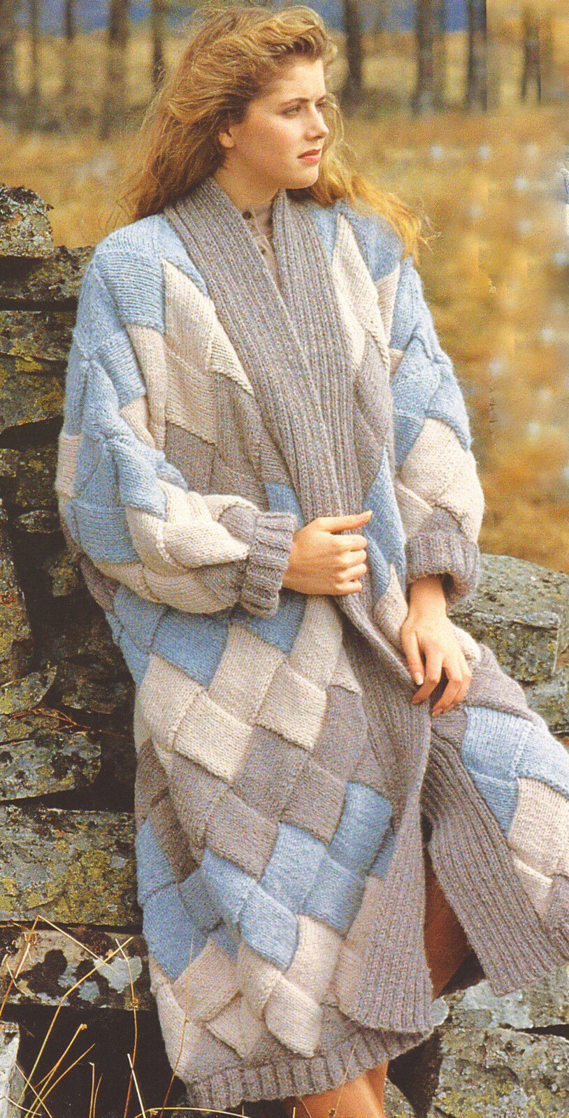 Entrelac Ladies Woven Blanket Coat Jacket Chunky Wool 34