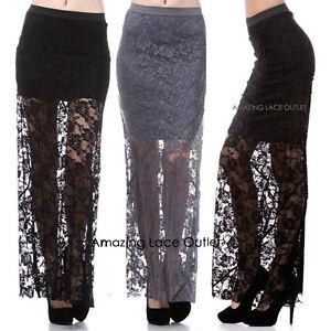 LACE-BOHO-Skirt-Maxi-Mini-High-Low-Floral-Long-Short-Punk-Goth-FASHION-Dress