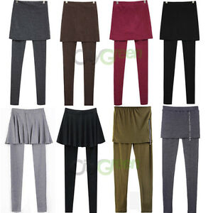 Women-039-s-Skirt-Leggings-Footless-Cotton-Pleated-Tights-Long-Pants-Stretch-S-M-L