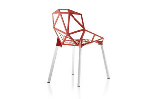 Magis-Chair-One-Red-Seat-Polished-Aluminum-Legs-Modern-Design-Within-Reach-DWR