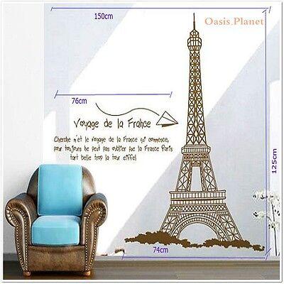 Huge Paris Eiffel Tower Wall Stickers art Mural Decal Wallpaper Transparent