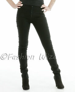 Ladies-Black-Zip-Skinny-Leg-Trousers-Womens-Strech-Hipsters-Sizes-6-14