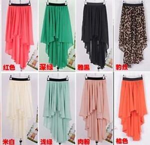 New-Sexy-Asym-Hem-Chiffon-Skirt-Ladies-Long-Maxi-Dress-Elastic-Waist-9-COLORS
