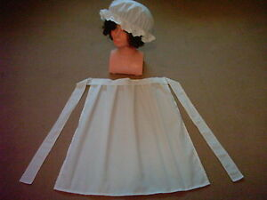 GIRLS-VICTORIAN-TUDOR-EDWARDIAN-MAID-APRON-MOP-CAP-fancy-dress-costume