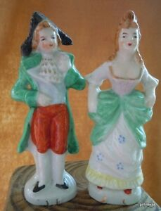 Vintage-Set-of-2-Lady-and-Gentleman-Figurine-Japan-4-Hand-Painted