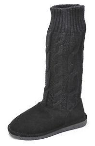 bearpaw crescent black sheepskin wool knee high boots
