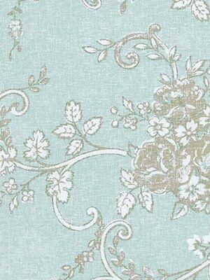 Floral Scroll Blue White Wallpaper Double Roll Bolts FREE SHIPPING