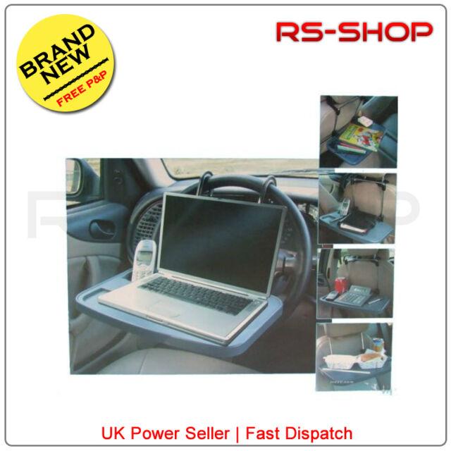 Car/Van Laptop Travel Tray/Table Cup Holder Multi Purpose for Steering Wheel