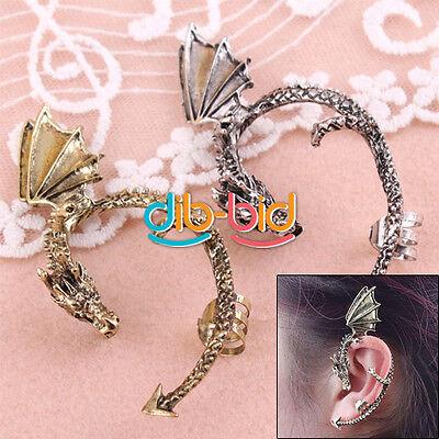 Hot 1Pc Vintage Gothic Punk Rock Metal Fly Dragon Wrap Ear Stud Cuff Earring