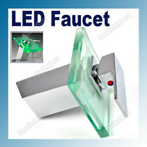 RGB-Square-LED-Light-Waterfall-Faucet-Mixer-Tap-Chrome-Kitchen-Bathroom-Sink-New