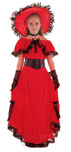 GIRLS-LONG-RED-VICTORIAN-SUMMER-FANCY-DRESS-COSTUME-OUTFIT-amp-HAT-4-6-9-11-12-NEW