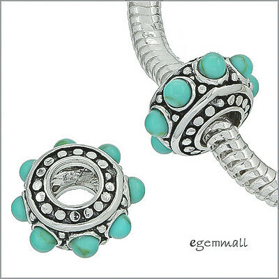 Sterling Silver Turquoise Charm Bead Fit European Bracelet #94069