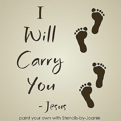 Inspirational STENCIL Jesus Carry You Footprint Sand Beach Primitive Subway Sign